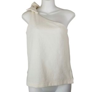 J.Crew Ivory One Shoulder Bow Top
